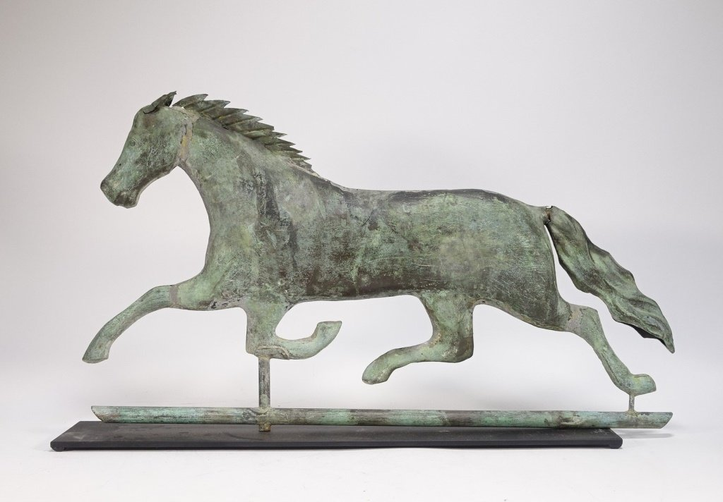 "Antique 26"" Copper Running Horse Weathervane - 2"