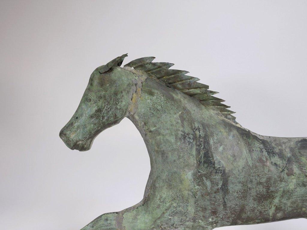 "Antique 26"" Copper Running Horse Weathervane - 3"