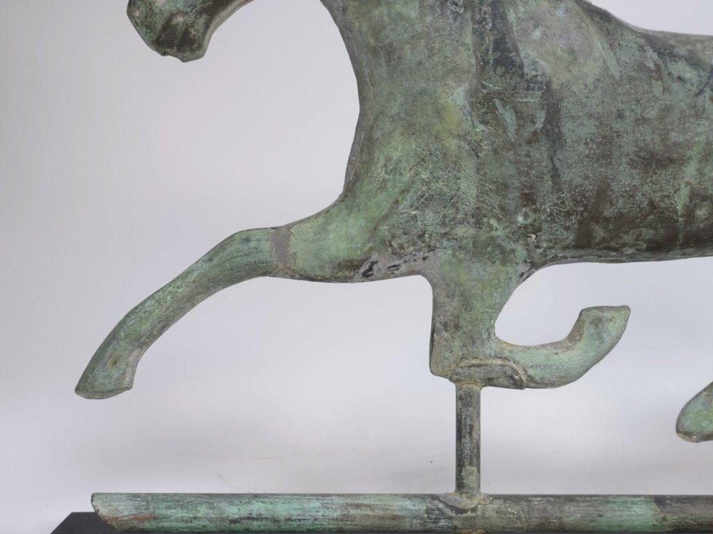 "Antique 26"" Copper Running Horse Weathervane - 4"