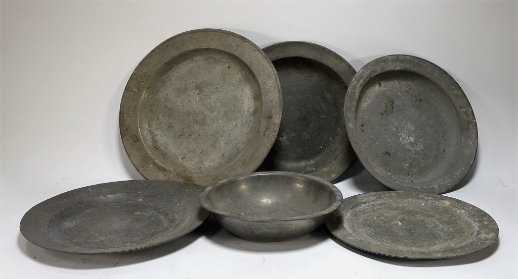 Lot of 6 English 18-19C Pewter Chargers Bowl