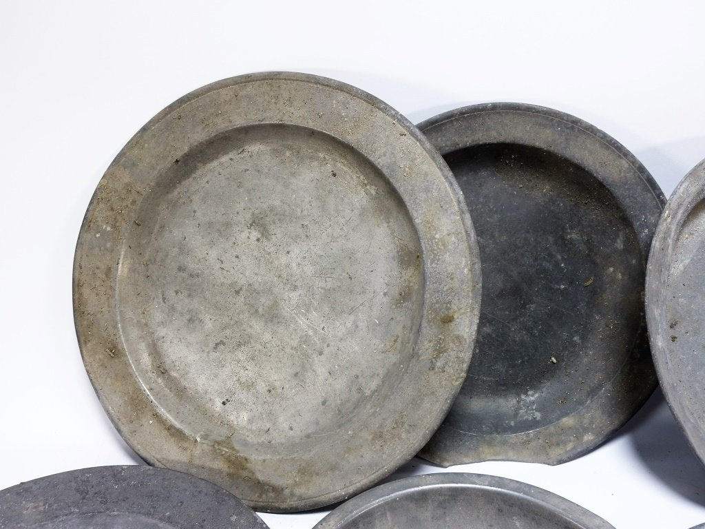 Lot of 6 English 18-19C Pewter Chargers Bowl - 2
