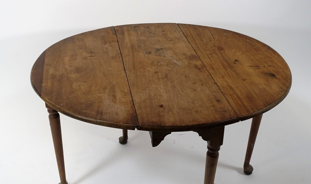 New England Queen Anne Pine Drop Leaf Table - 6