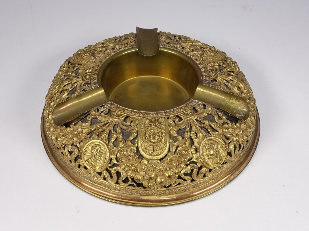 Neoclassical Gilt Brass Reticulated Cigar Ashtray