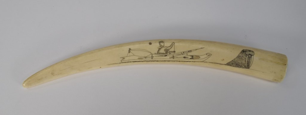 Early 20C. Inuit Eskimo Walrus Tusk Cribbage Board