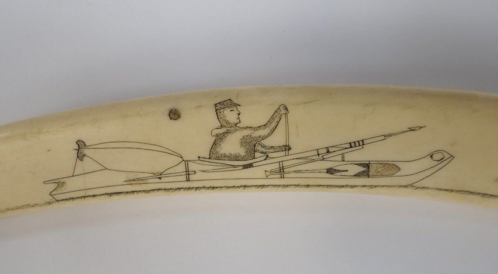 Early 20C. Inuit Eskimo Walrus Tusk Cribbage Board - 3