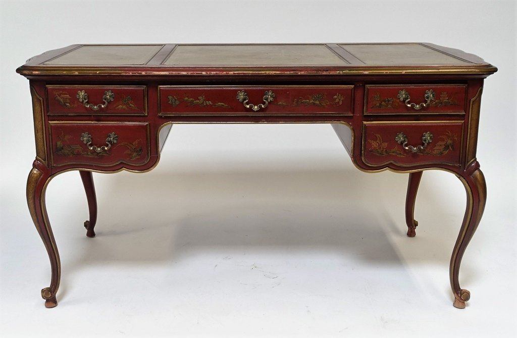 American Drexel Chinoiserie Red Lacquer Desk - 2