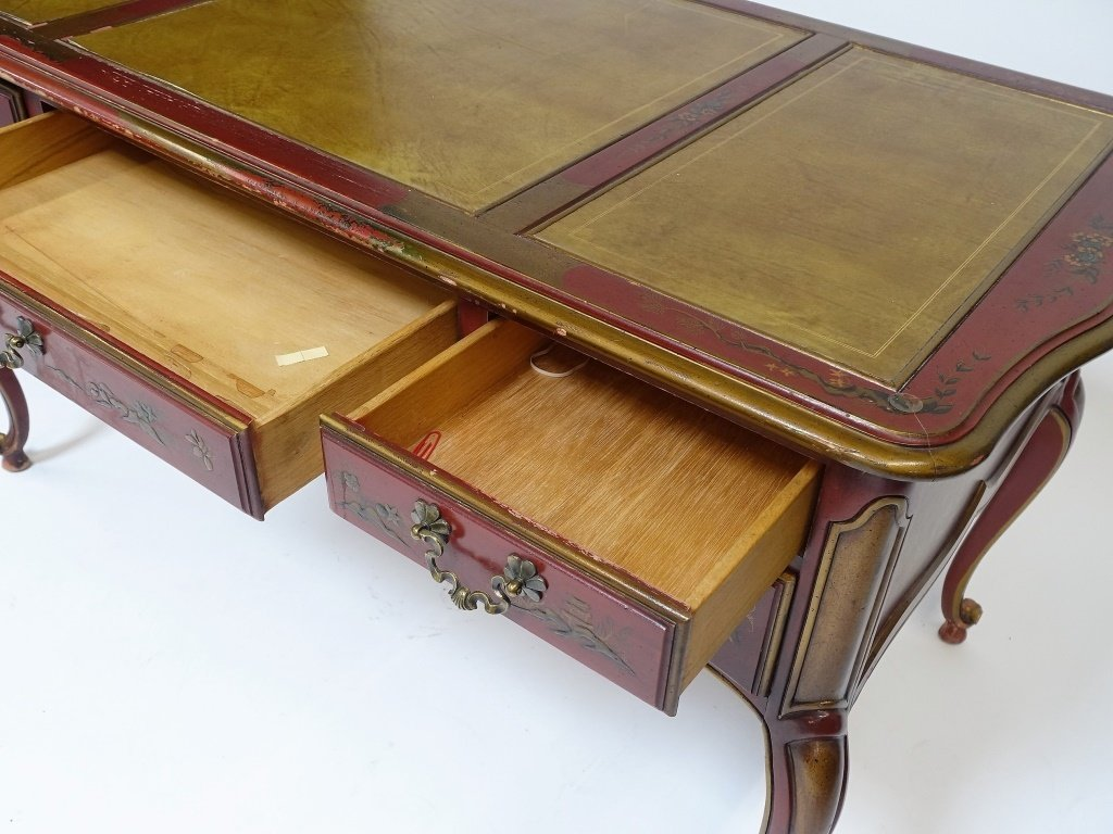 American Drexel Chinoiserie Red Lacquer Desk - 6