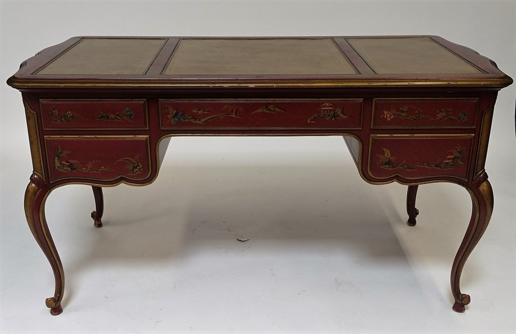American Drexel Chinoiserie Red Lacquer Desk - 7