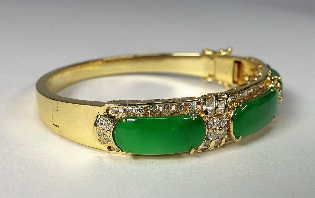 18KT Gold  Emerald Green Jadeite Diamond Bracelet - 2