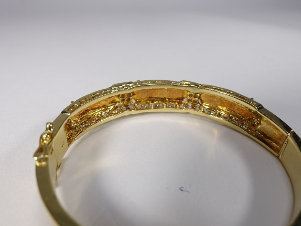 18KT Gold  Emerald Green Jadeite Diamond Bracelet - 3