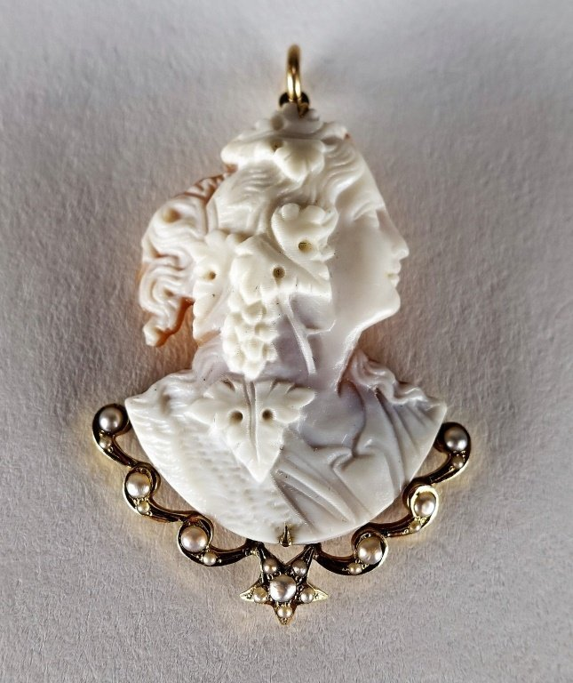 14 KT Yellow Gold Carved Cameo & Pearl Pendant