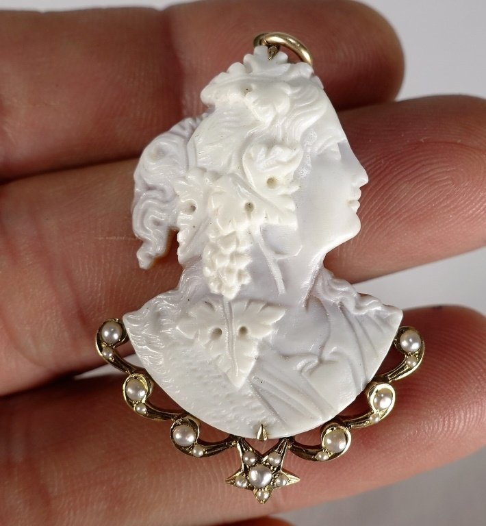 14 KT Yellow Gold Carved Cameo & Pearl Pendant - 5