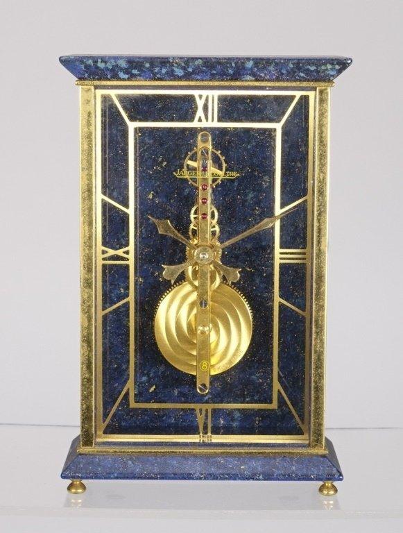 1970 Jaeger-LeCoultre Faux Lapis Lazuli Gilt Clock