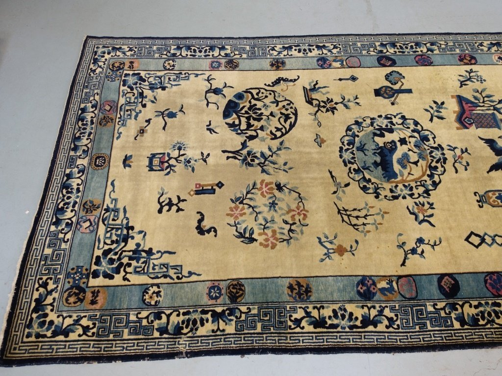 Large Antique Indian Chinese Design Rug - 3