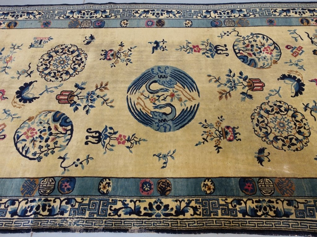 Large Antique Indian Chinese Design Rug - 5