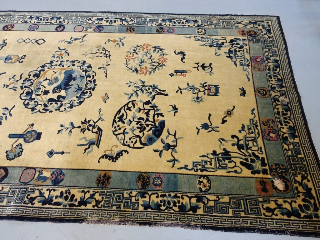 Large Antique Indian Chinese Design Rug - 7
