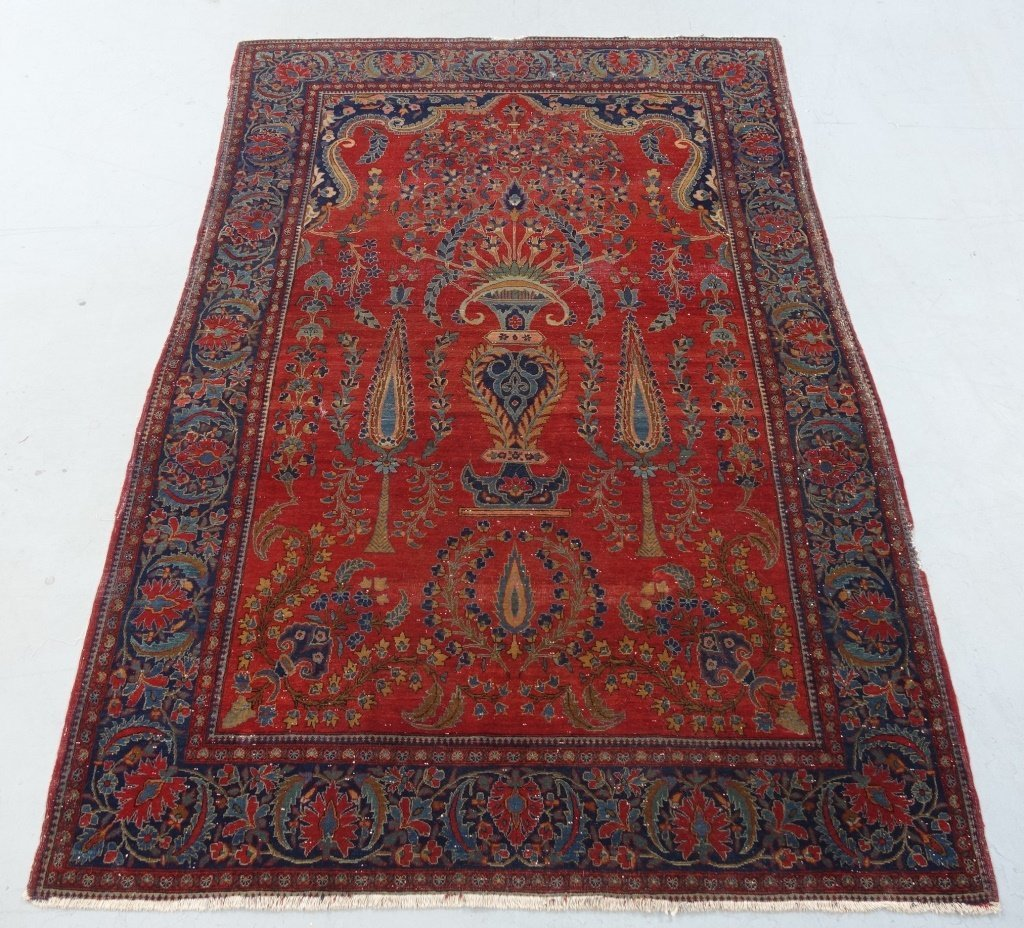 Antique Persian Manchester Keshan Carpet Rug