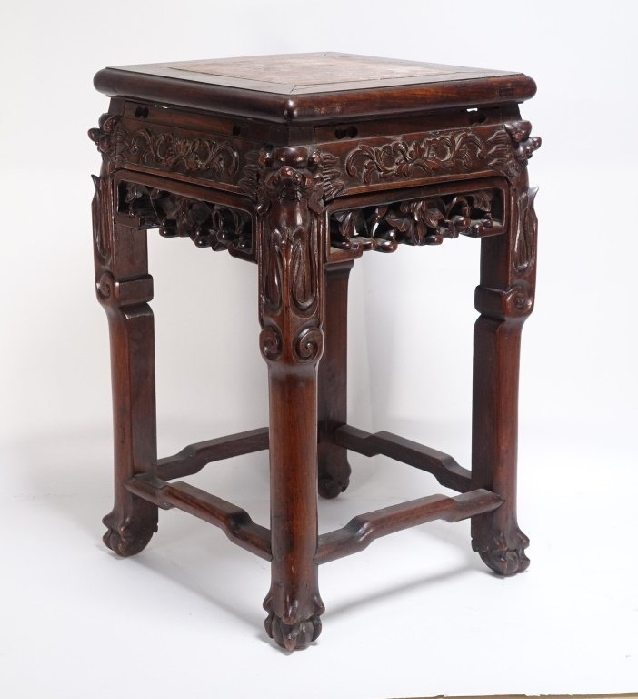Chinese Carved Hardwood Hongmu & Marble Stand