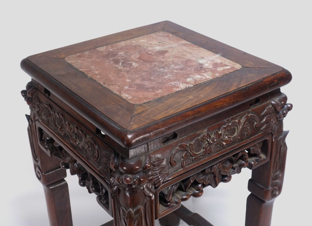 Chinese Carved Hardwood Hongmu & Marble Stand - 2