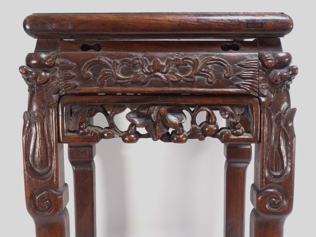 Chinese Carved Hardwood Hongmu & Marble Stand - 3