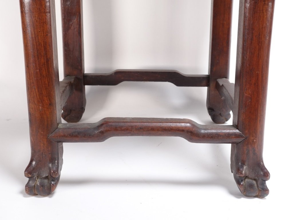 Chinese Carved Hardwood Hongmu & Marble Stand - 4