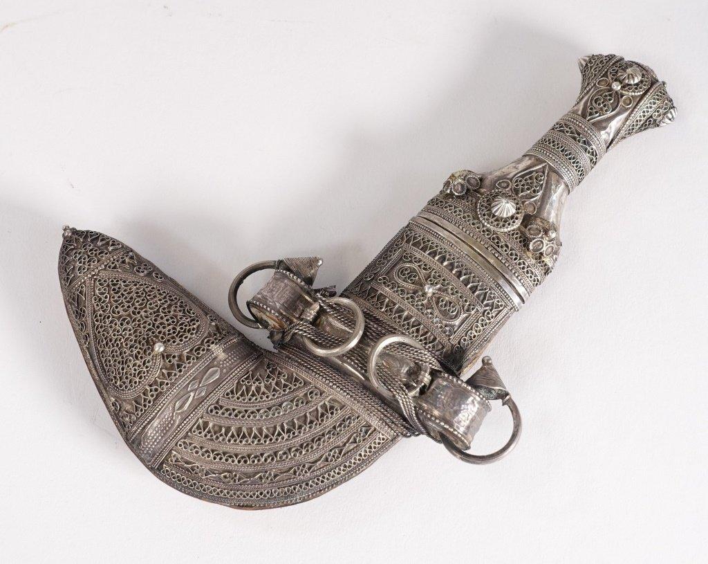 FINE 19C. Omani Khanjar Silver Filigree Dagger