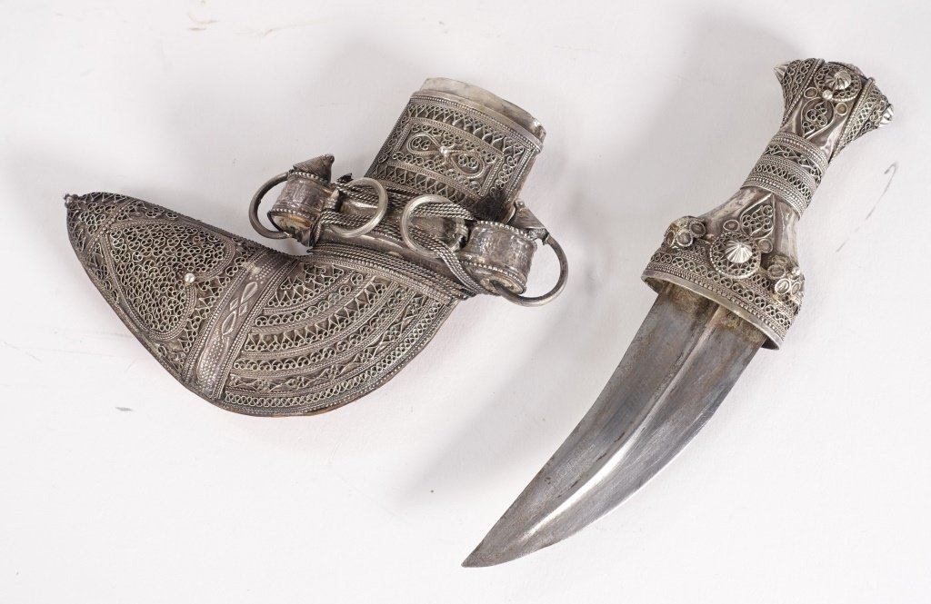 FINE 19C. Omani Khanjar Silver Filigree Dagger - 3