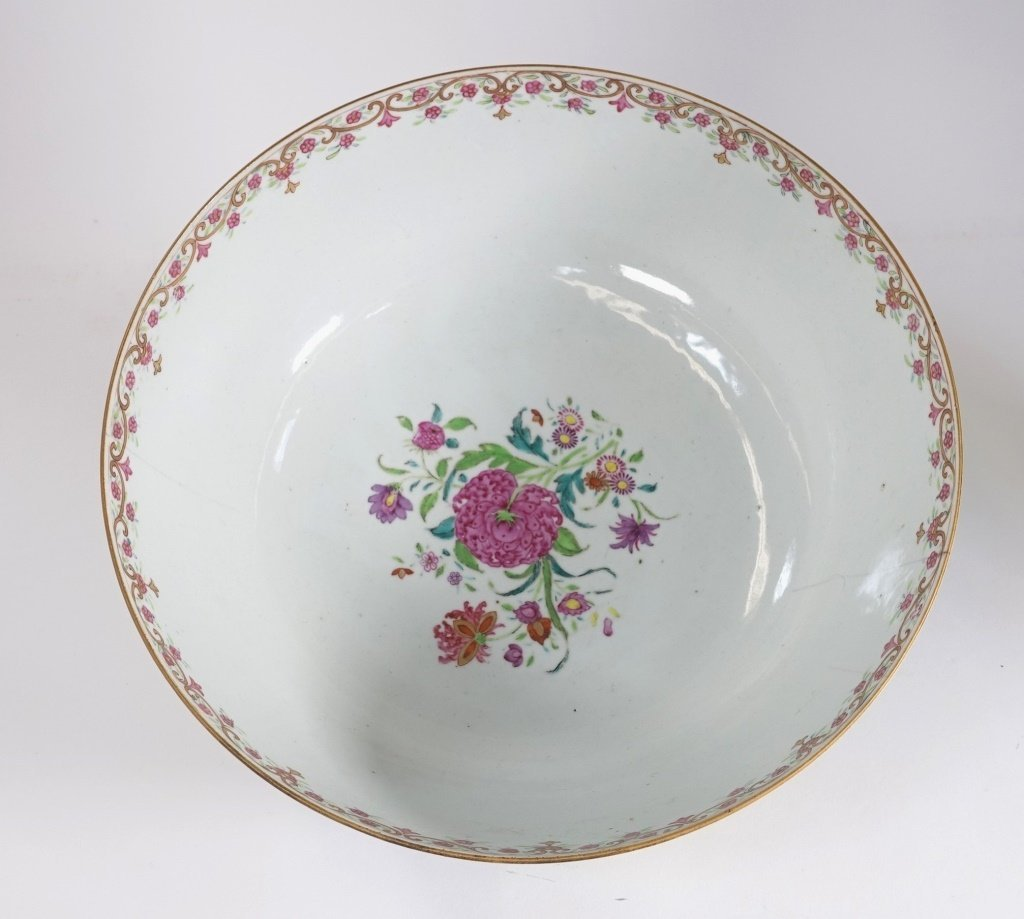 Chinese Export Porcelain Famille Rose Punch Bowl - 5