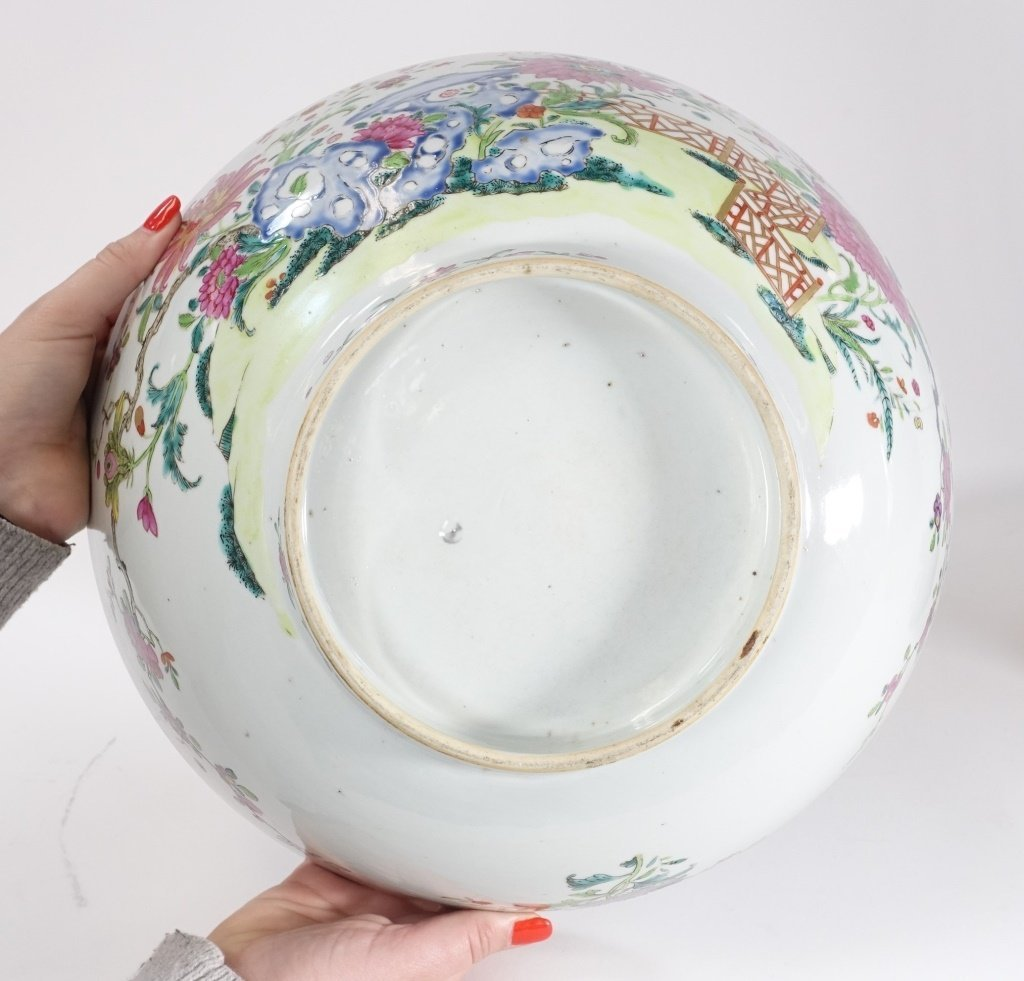 Chinese Export Porcelain Famille Rose Punch Bowl - 6