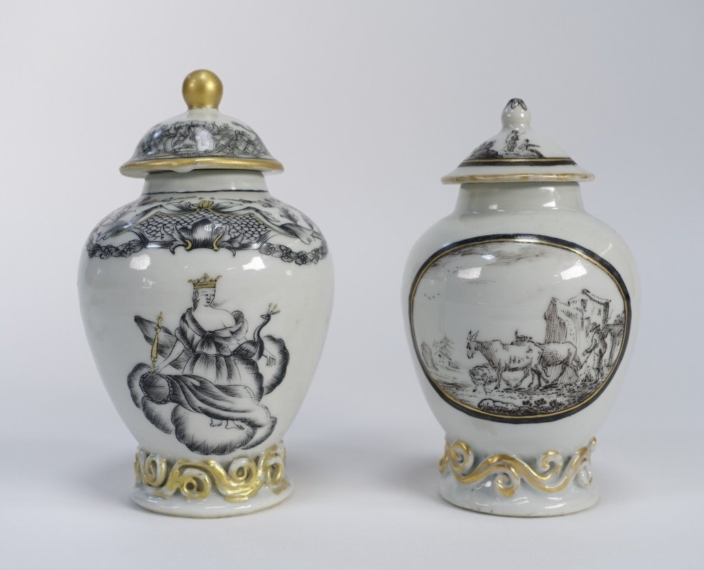 2 Chinese Export Porcelain Grisaille Tea Caddy