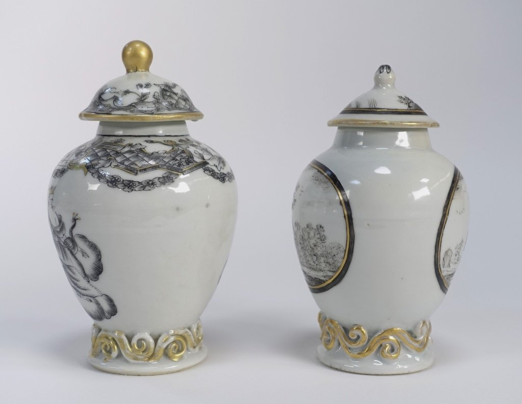 2 Chinese Export Porcelain Grisaille Tea Caddy - 2
