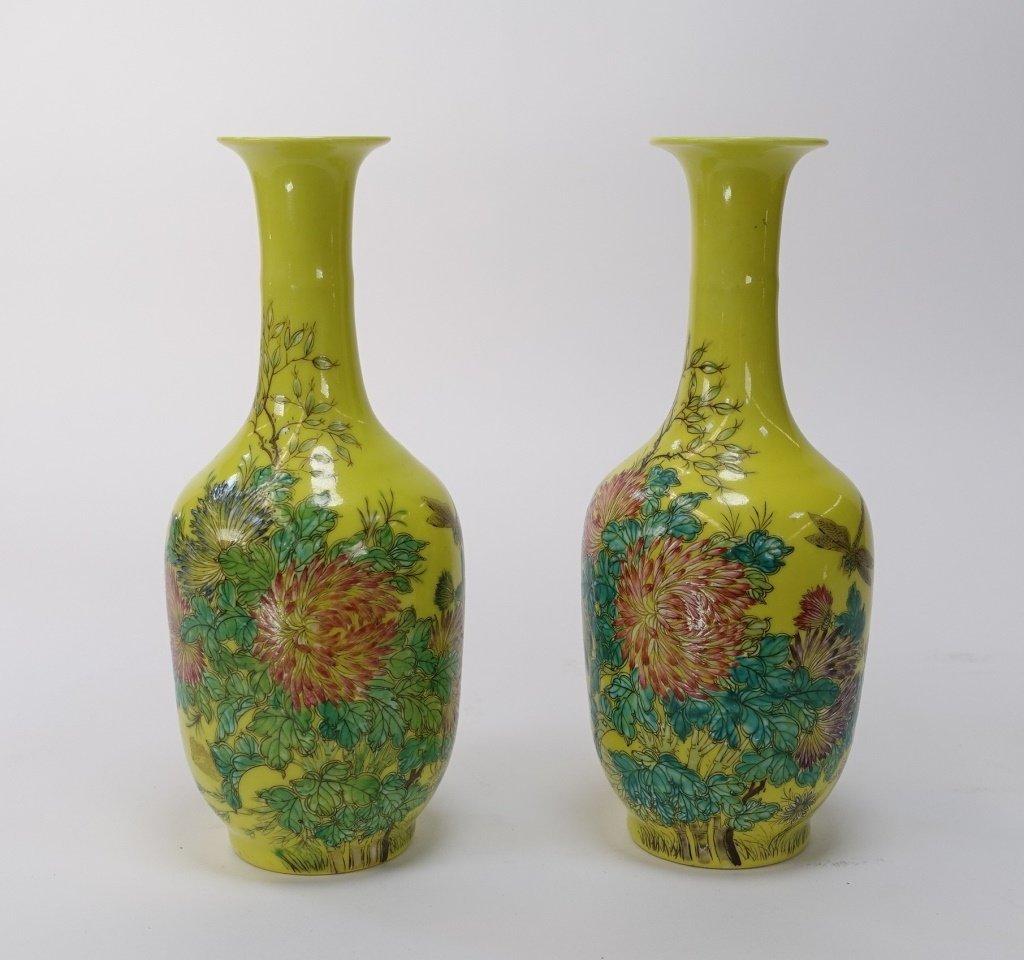 PR Chinese Yellow Famille Rose Porcelain Vases