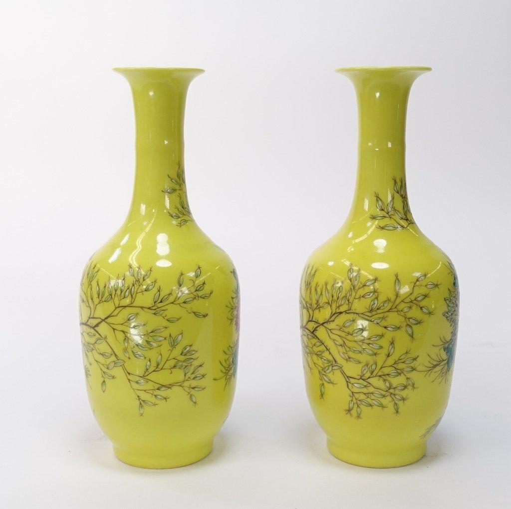 PR Chinese Yellow Famille Rose Porcelain Vases - 3
