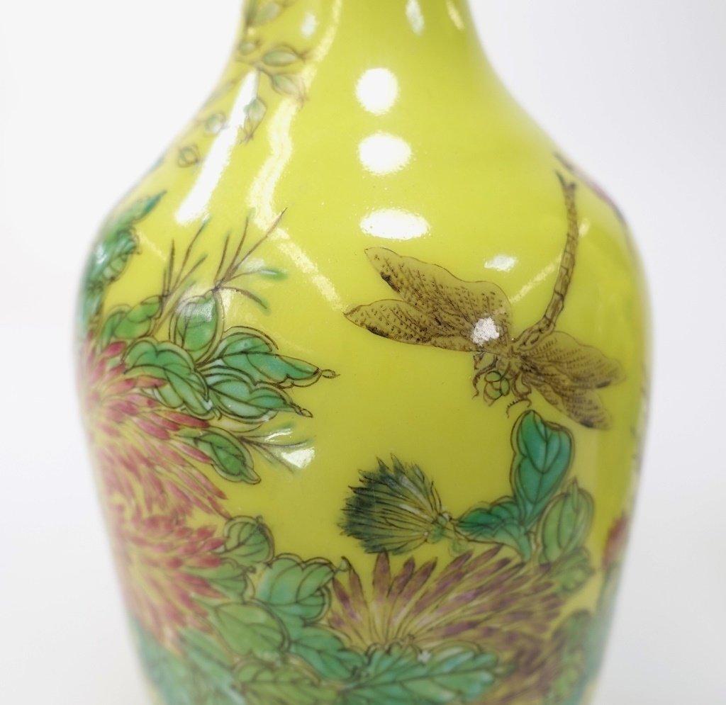PR Chinese Yellow Famille Rose Porcelain Vases - 5