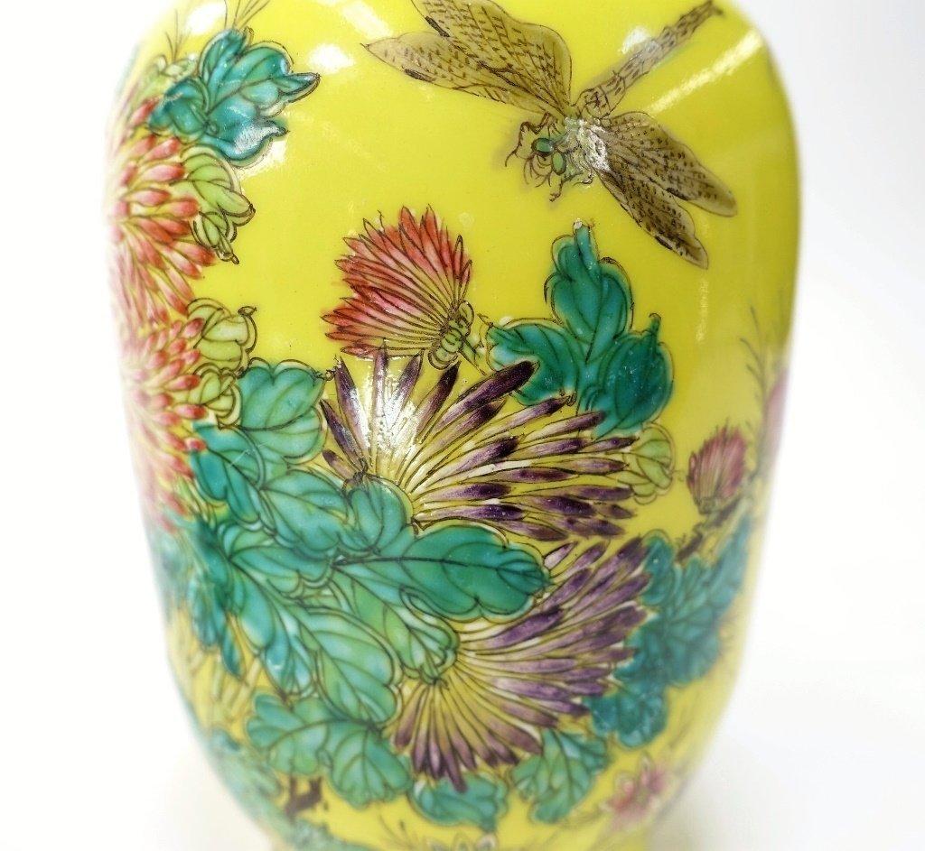 PR Chinese Yellow Famille Rose Porcelain Vases - 7
