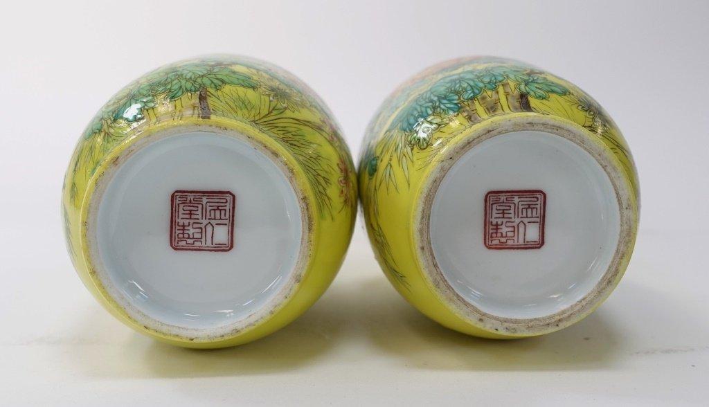 PR Chinese Yellow Famille Rose Porcelain Vases - 9