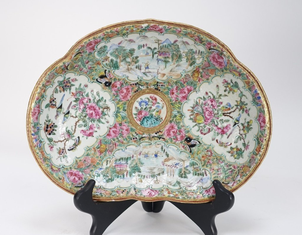 Chinese Mandarin Rose Medallion Porcelain Plate