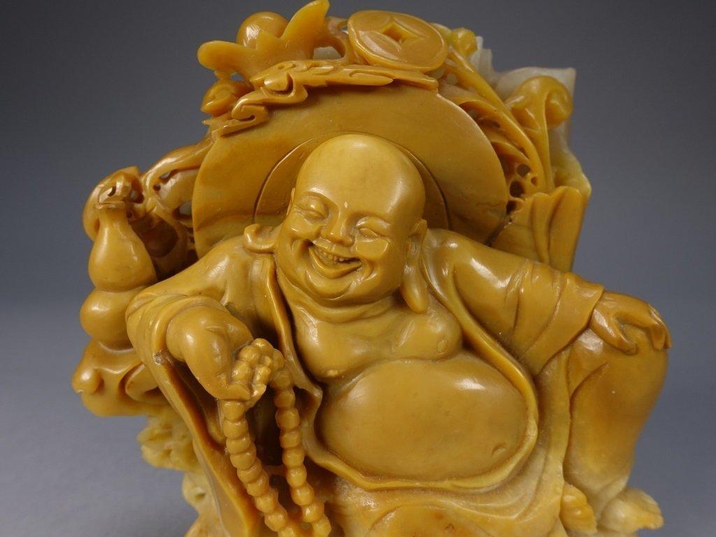 Chinese Carved Soapstone Buddha Figure - 2
