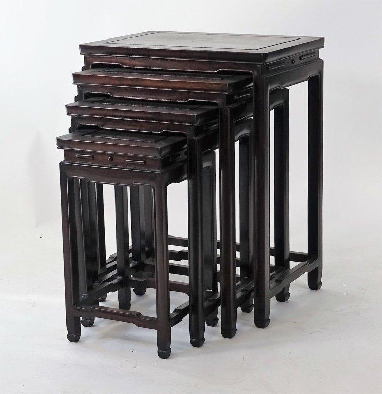 Set of 4 Chinese Hardwood Stacking Nesting Tables