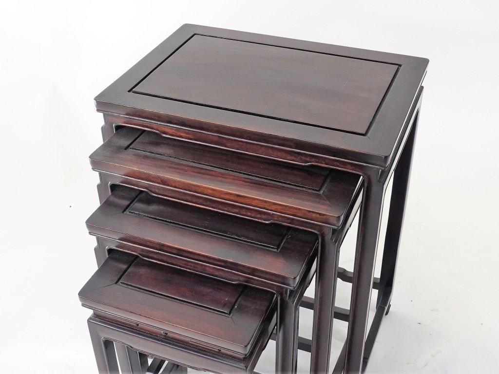 Set of 4 Chinese Hardwood Stacking Nesting Tables - 2