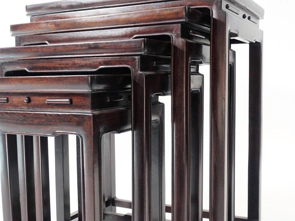 Set of 4 Chinese Hardwood Stacking Nesting Tables - 3