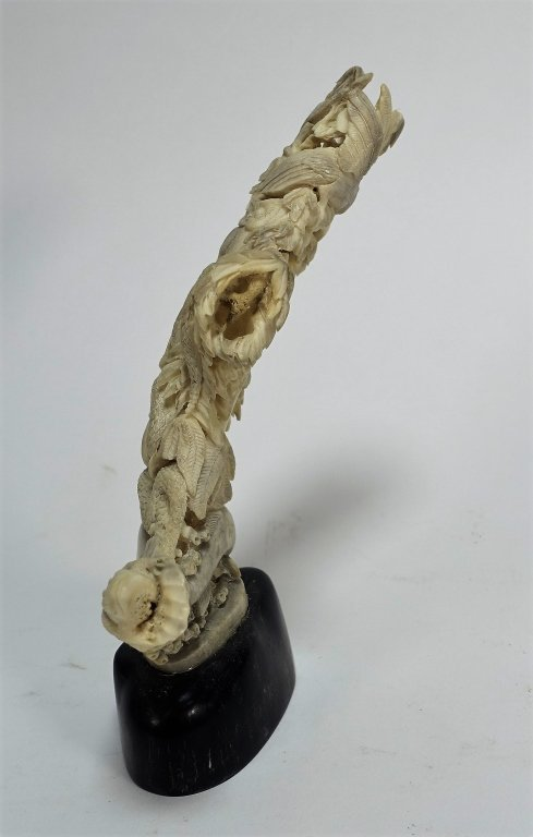Chinese Carved Antler Snake Bird Fish Sculpture - 3