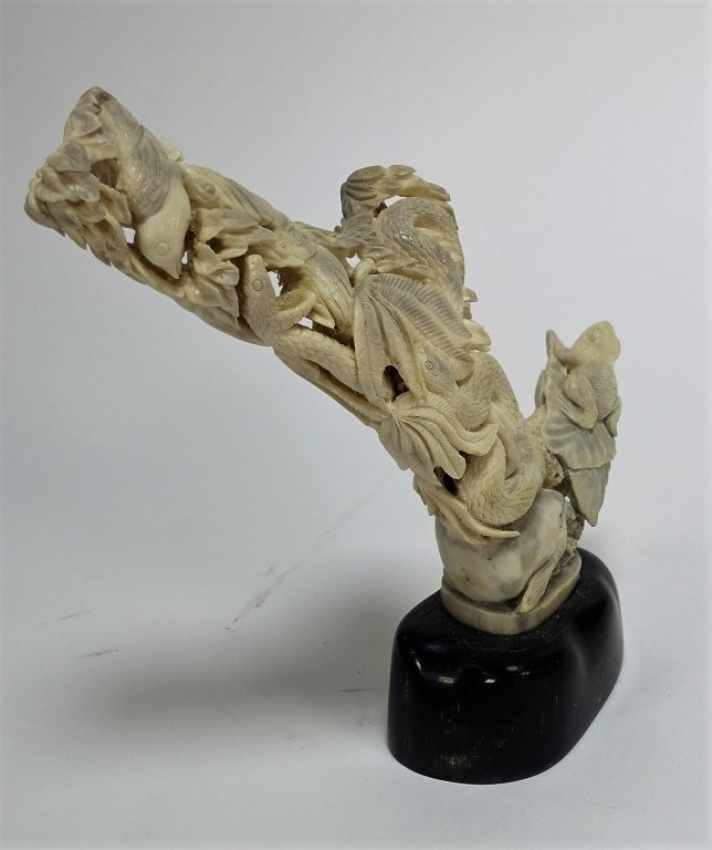 Chinese Carved Antler Snake Bird Fish Sculpture - 4