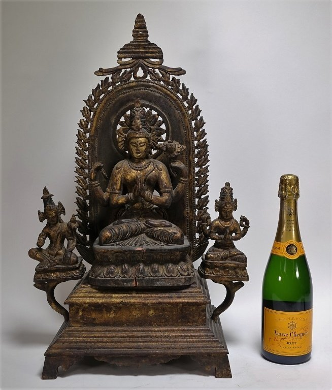 SE Asian Tibetan Gilt Wood Hindu Deity Shrine