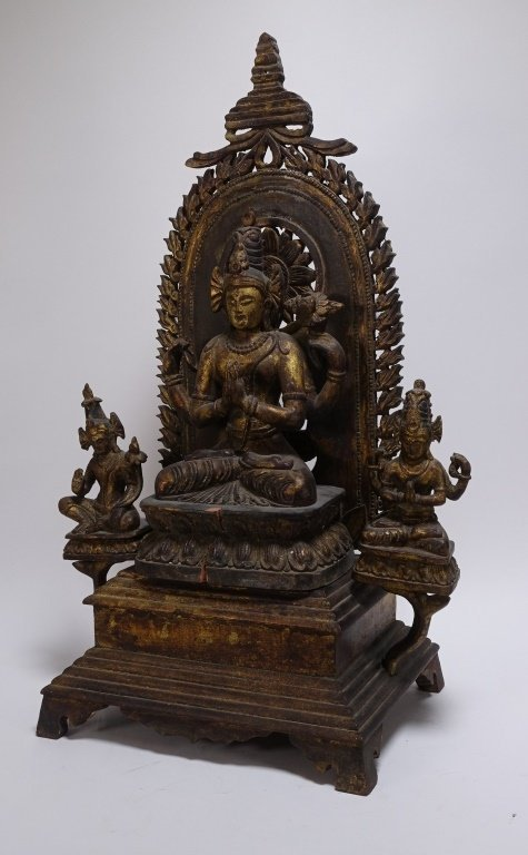 SE Asian Tibetan Gilt Wood Hindu Deity Shrine - 2