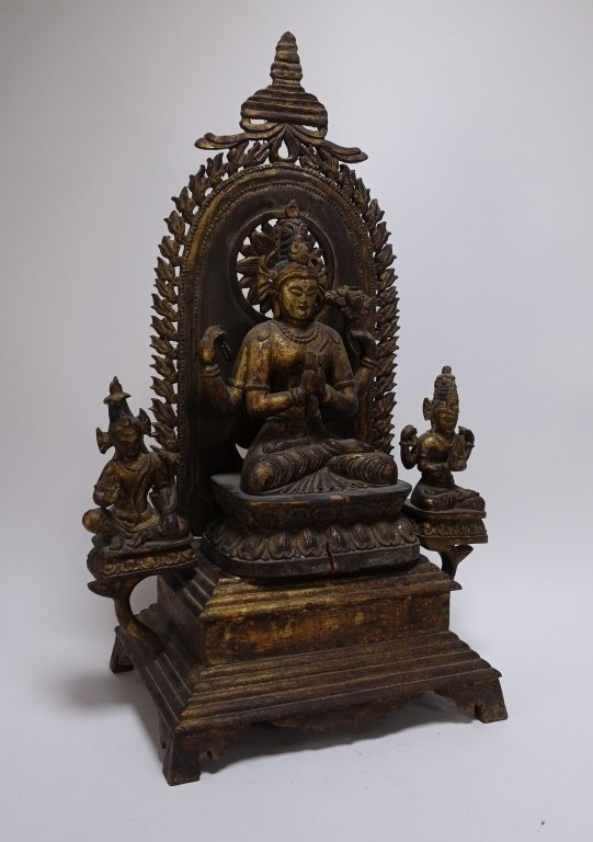 SE Asian Tibetan Gilt Wood Hindu Deity Shrine - 3