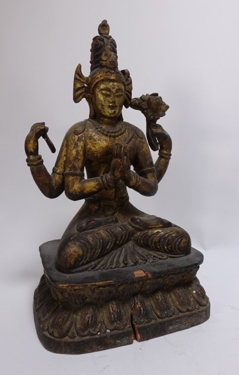 SE Asian Tibetan Gilt Wood Hindu Deity Shrine - 4