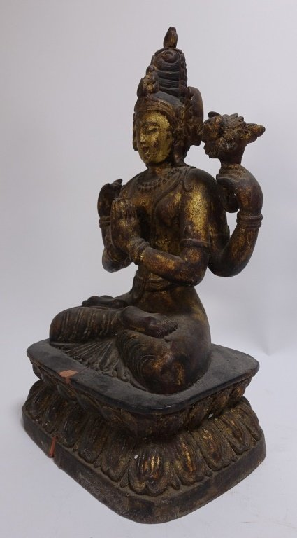 SE Asian Tibetan Gilt Wood Hindu Deity Shrine - 5