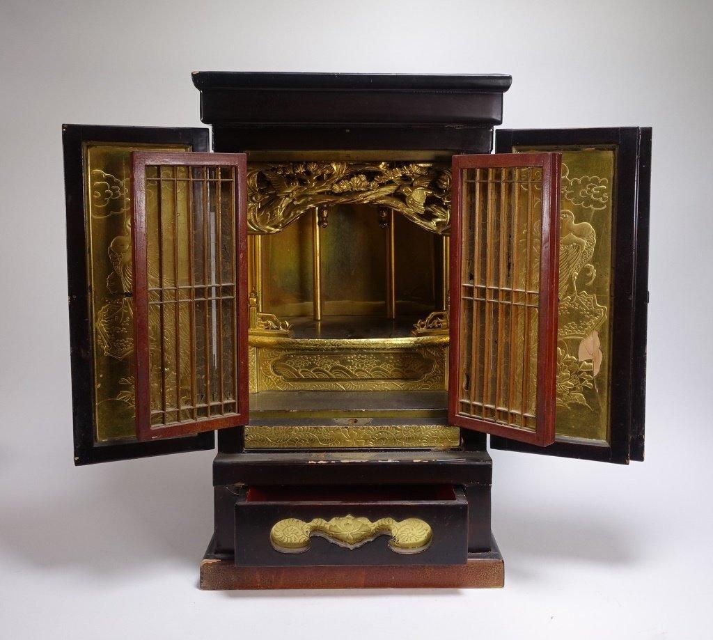 Large Japanese Lacquer & Gilt Wood Zushi Shrine - 4