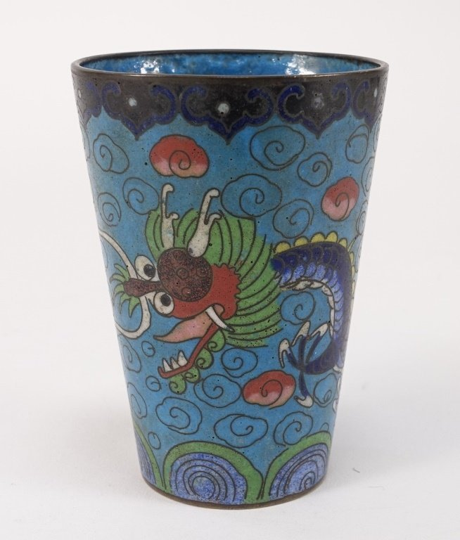 Chinese Cloisonne Enamel Dragon Cup